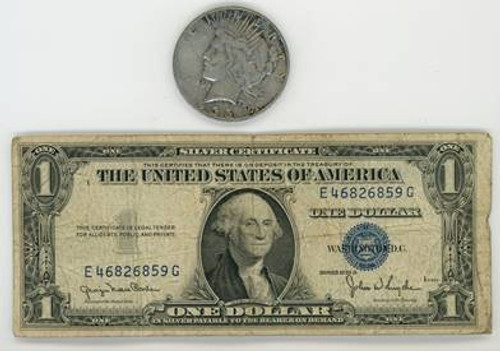 1935 Peace Dollar and Silver Certificate 2-pc Set