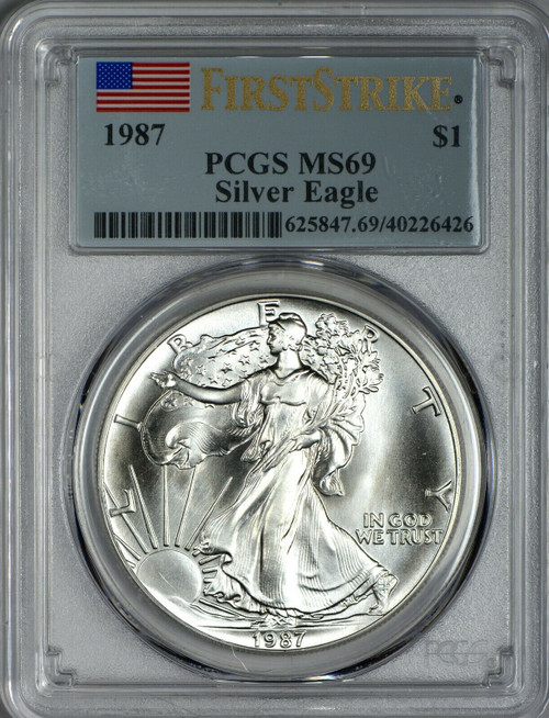 1987 Silver Eagle PCGS MS69 First Strike - Extraordinarily Rare