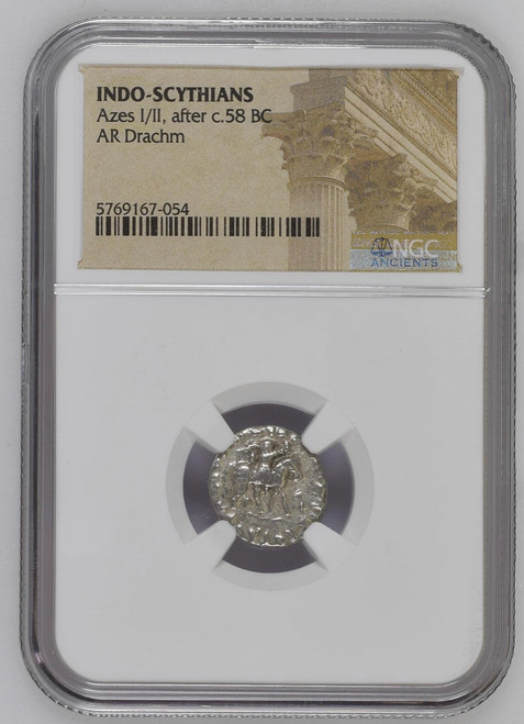 Circa 58 B.C. Silver Drachm of Azes I/II NGC - Coins of the Three Wise Men  obverse