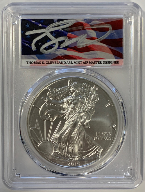 2019-W Burnished Silver Eagle PCGS SP70 First Strike Thomas Cleveland Signed