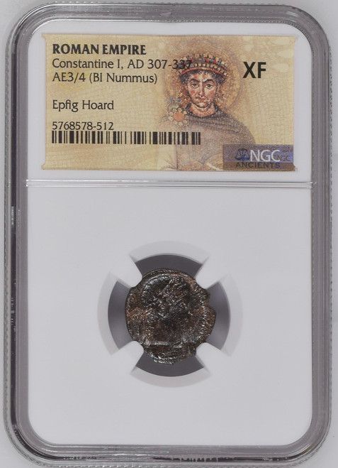 AD 307-337 Ancient Roman Bronze Constantine NGC XF - Epfig Hoard