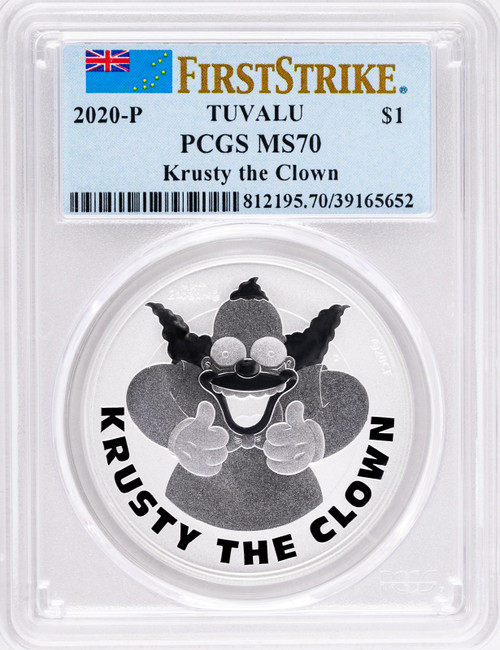 2020-P Tuvalu Simpsons Krusty the Clown 1oz Silver Coin PCGS MS70 First Strike