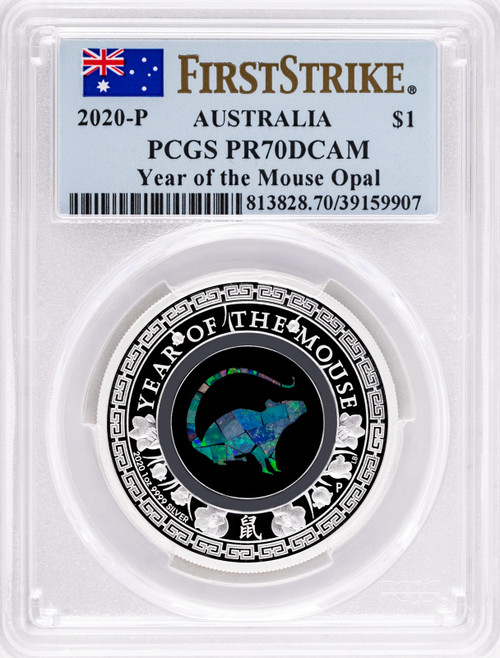 2020-P $1 Australia Year of the Mouse Opal 1oz .9999 Silver Proof PCGS PR70 First Strike