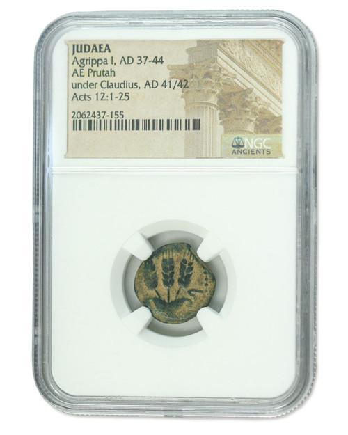 Judaea AE Agrippa 1st (AD 41-44) Prutah NGC (High grade)