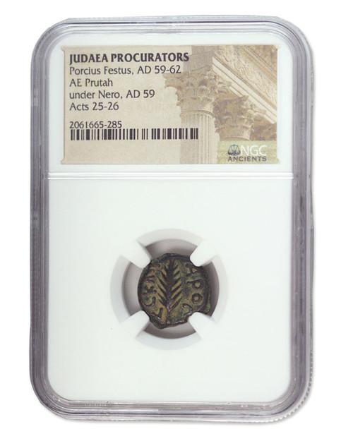 Judaea AE Porcius Festus (AD 59-62) Prutah NGC (High grade)