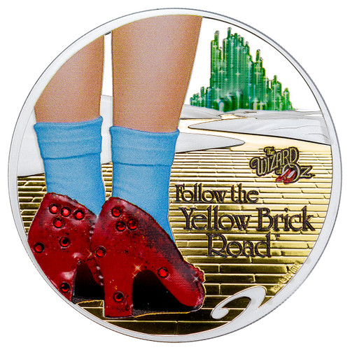 2017 Cook Islands Wizard of Oz - Yellow Brick Road High Relief 1 oz Silver Colorized Gilt Proof $5 Coin GEM Proof
