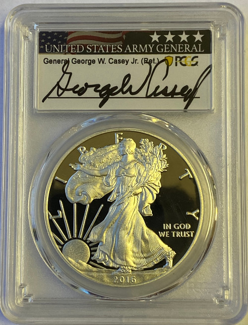 2016-W Proof Silver Eagle PCGS PR70 DCAM (West Point Mint Hoard) General Casey Signed
