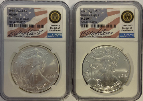 1986 & 2021 Silver Eagle NGC MS69 - First and Last Year T1 Set - Miles Standish Signed