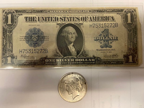 """1923 Peace Dollar and """"Horseblanket Note"""" - The Last Large Note"""