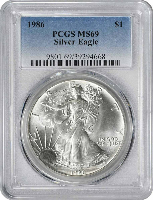 1986 Silver Eagle PCGS MS69 - First Year of Issue