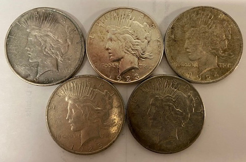 1922-1926 Peace Dollar Set - 5 Different Dates