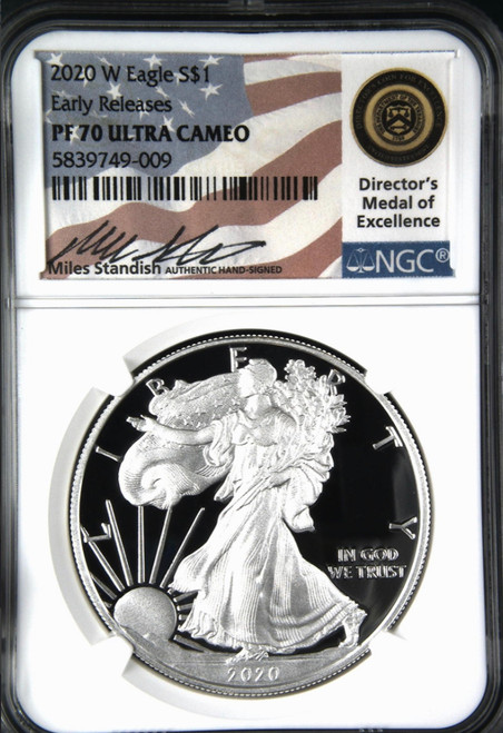 2020 Silver Eagle NGC PF70 Early Releases Miles Standish Signed