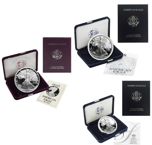 S,P,W Proof Silver Eagle GEM Proof 3-Coin Mintmark Set in OGP