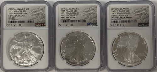 2006-W Silver Eagle 20th Anniversary 3-Coin Set NGC 70