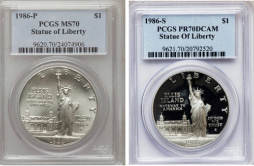 1986 Statue of Liberty Silver Dollar PCGS MS/PR70  - 2 Coin Set