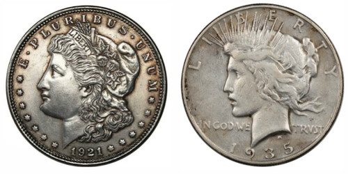 Morgan & Peace Dollar Last Year of Issue - 2 Coin Set