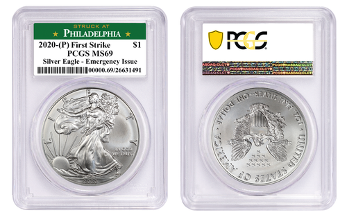 2020 (P) Silver Eagle PCGS MS69 - Emergency Issue Philadelphia Minted First Strike