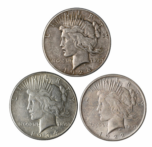 P,D,S Peace Dollar - 3-Coin Mintmark Set