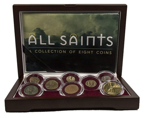 All Saints - A Collection of Eight Coins w/ Wood Box