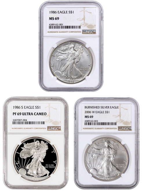 First Year of Issue Silver Eagle Type Set - NGC 69 Grade (3 Coins)