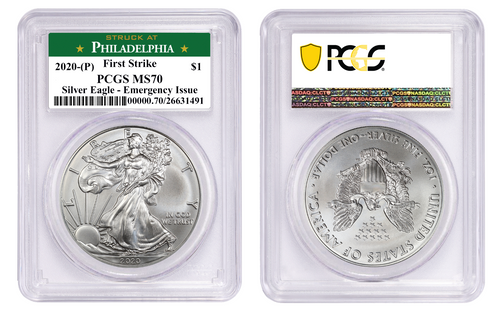 2020 (P) Silver Eagle PCGS MS70 First Strike - Emergency Issue Philadelphia Minted