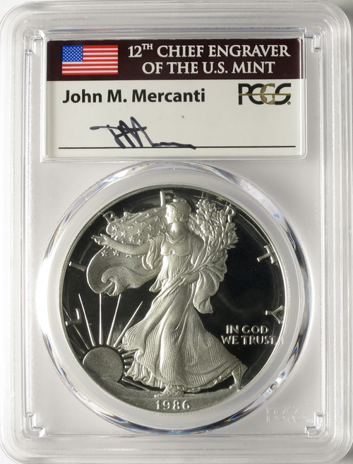 1986-S American Silver Eagle PCGS PR70 DCAM John Mercanti Signed
