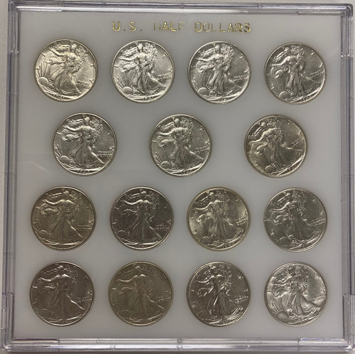 1941-1945 Walking Liberty Half Dollar AU/BU - WWII 15-Coin Set