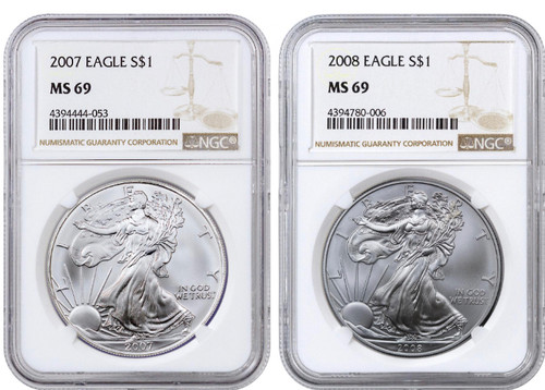 2007 & 2008 Silver Eagle NGC MS69 - Changing Designs