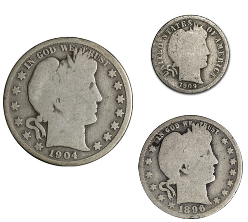 Barber Coinage 3-Coin Type Set 10c, 25c, 50c