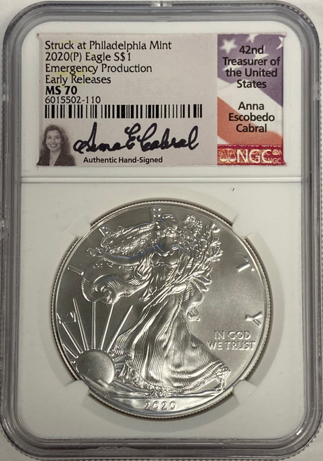 2020 (P) American Silver Eagle NGC MS70 Emergency Production ER Anna Cabral Signed
