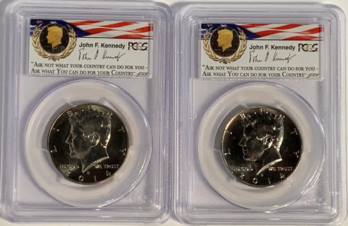 2014 Kennedy Half Dollar 2-Coin Set PCGS SP68 First Day of Issue Denver