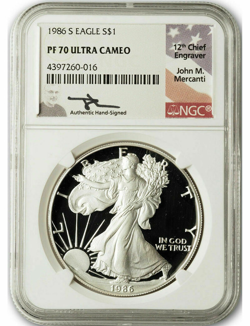 1986-S American Silver Eagle NGC PF70 UCAM John Mercanti Signed