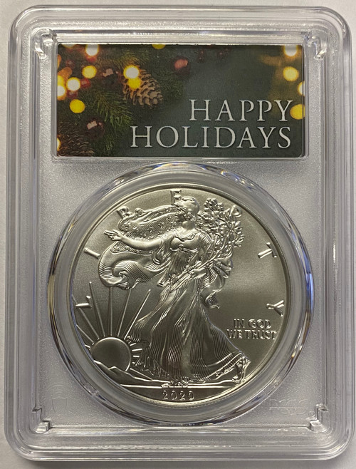 2020 Silver Eagle PCGS MS70 Happy Holidays Label