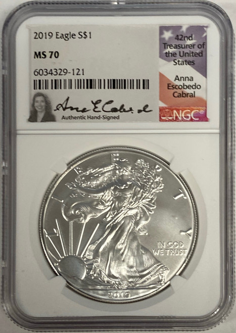 2019 American Silver Eagle NGC MS70 Anna Cabral Signed obverse