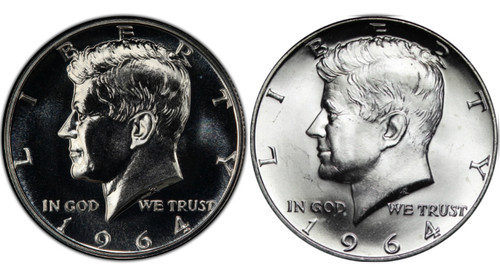 1964 Kennedy Half Dollar Proof and Uncirculated - 2-Coin Set obverse