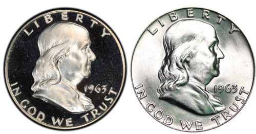 1963 Franklin Half Dollar Proof and Uncirculated 2-Coin Set