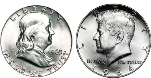 1963 & 1964 Franklin and Kennedy Half Dollar Choice Uncirculated - 2 Coin Set