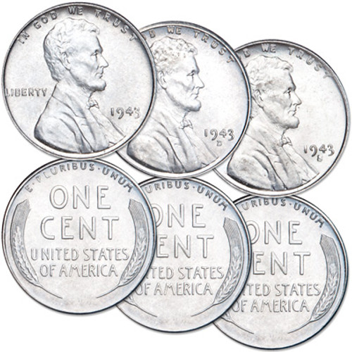 1943 PDS Steel Penny Choice Uncirculated (3-Coin Set)