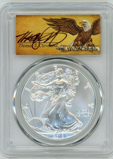 2019 Silver Eagle PCGS MS70 First Day of Issue Thomas Cleveland Signed Edition of 10,000