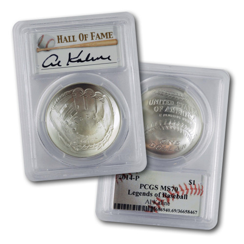 2014-P $1 Silver Baseball Coin PCGS MS70 Al Kaline Signed display