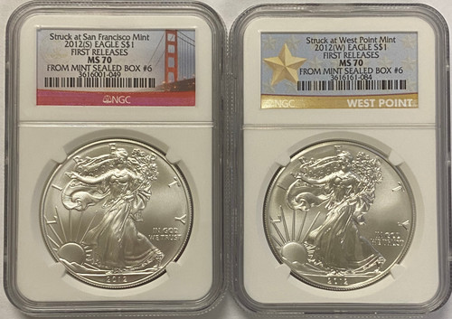 2012 (S) & (W)  Silver Eagle NGC MS70 First Releases Mint Box #6 - 2 Coin Set