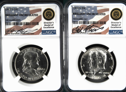 1963 & 1964 Silver Half Dollar 2-Coin Set NGC Miles Standish Signed