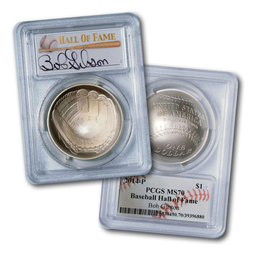 2014-P $1 Silver Baseball Coin PCGS MS70 Bob Gibson Signed w/ Free Gift