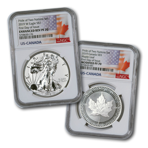 2019 Pride of Two Nations 2-Coin Set NGC PF70 First Day of Issue set