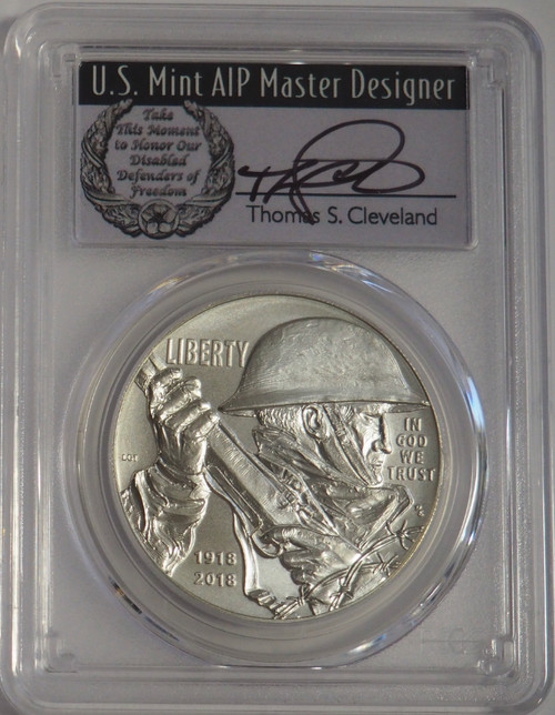 2018-P WWI Silver Dollar PCGS MS70 First Strike Thomas Cleveland Signed