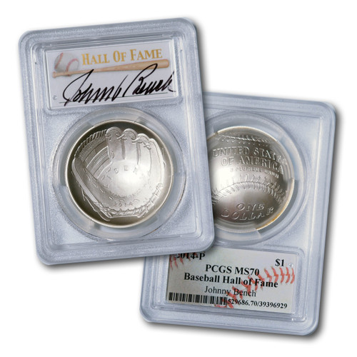 2014-P $1 Silver Baseball Coin PCGS MS70 Johnny Bench Signed w/ Baseball Card