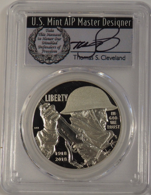 2018-P WWI Silver Dollar PCGS PR70DCAM First Strike Thomas Cleveland Signed