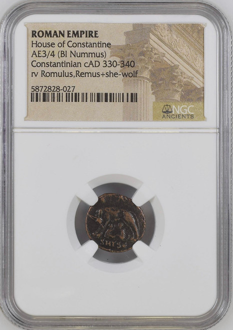 AD 330-340 Roman Billon Nummus of Constantinian – Romulus and Remus NGC