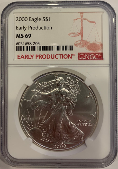 2000 Silver Eagle NGC MS69 Early Production - Ultra Rare