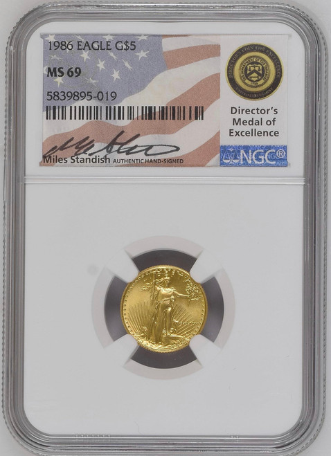 1986 $5 Gold Eagle NGC MS69 - Miles Standish Signed